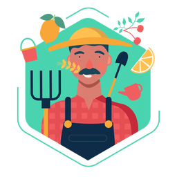 Elementos de personagem bonito agricultor