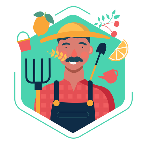 Cute farmer character elements Transparent PNG