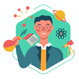 Personagem bonito cientista