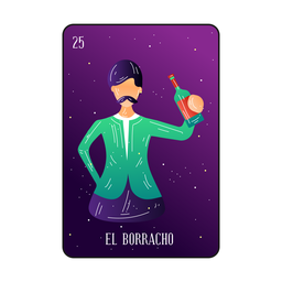 Drunk man loteria card