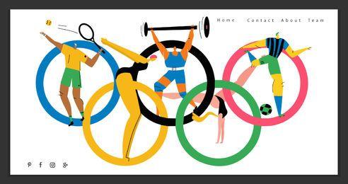 Modelo de página de aterrissagem de jogos olímpicos