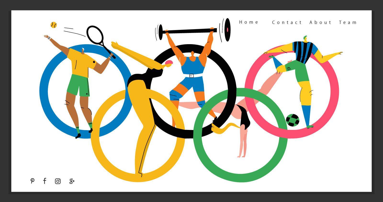 Modelo de página de destino dos Jogos Olímpicos