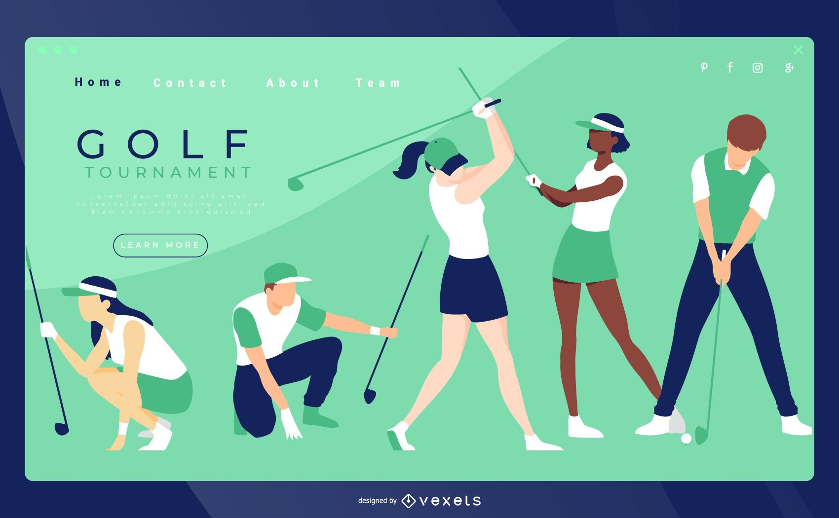 Golf landing page template