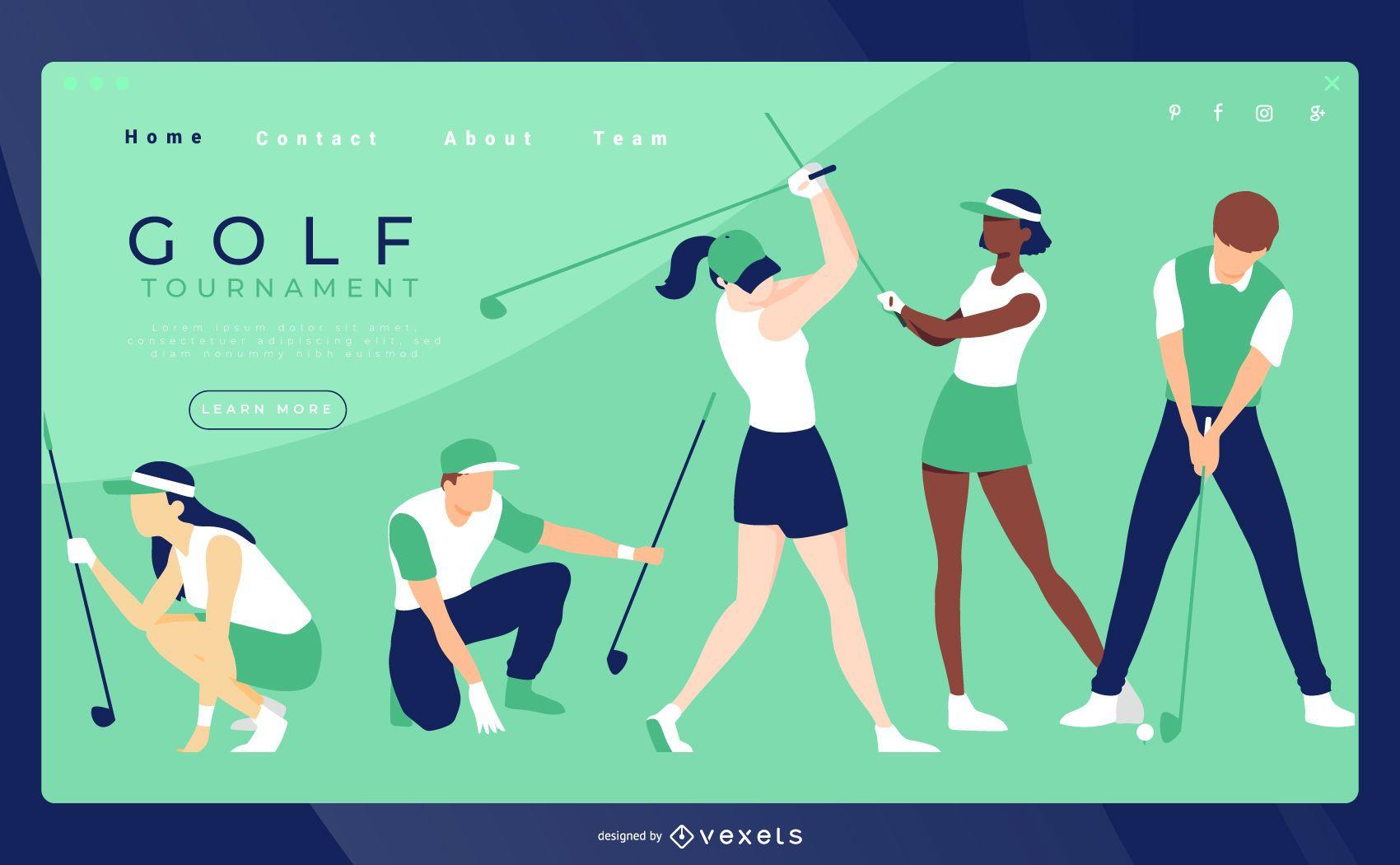 Modelo de página de destino de golfe