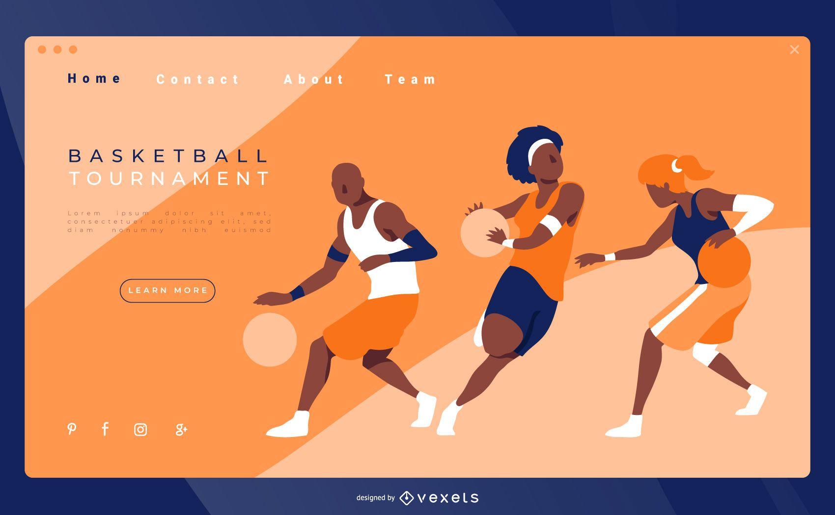 Diseño de página de aterrizaje de baloncesto
