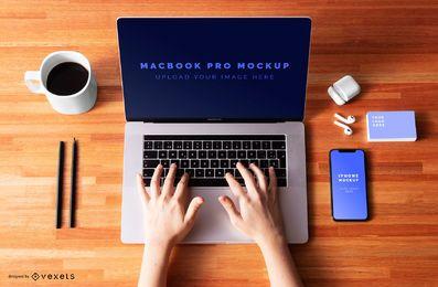 Composición de maqueta de macbook pro