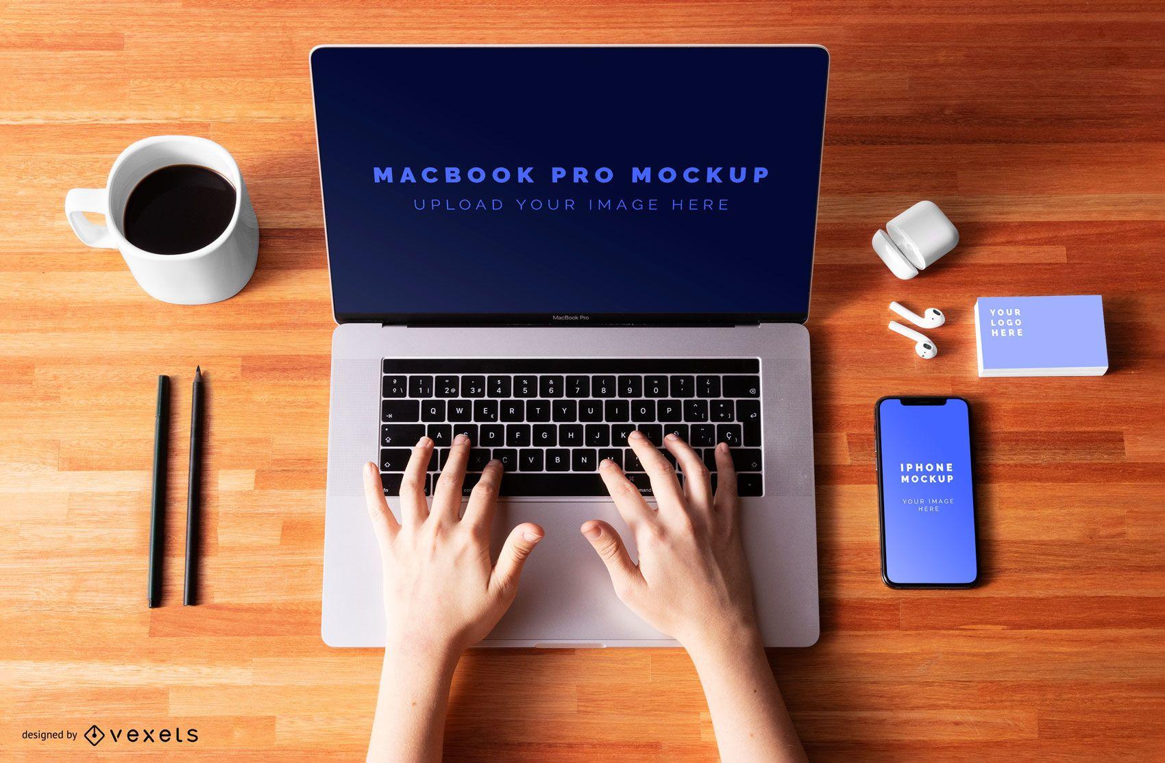Macbook pro mockup composition