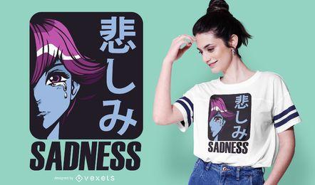 Traurigkeit Anime Mädchen T-Shirt Design