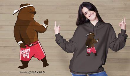 Diseño de camiseta de oso Muay Thai