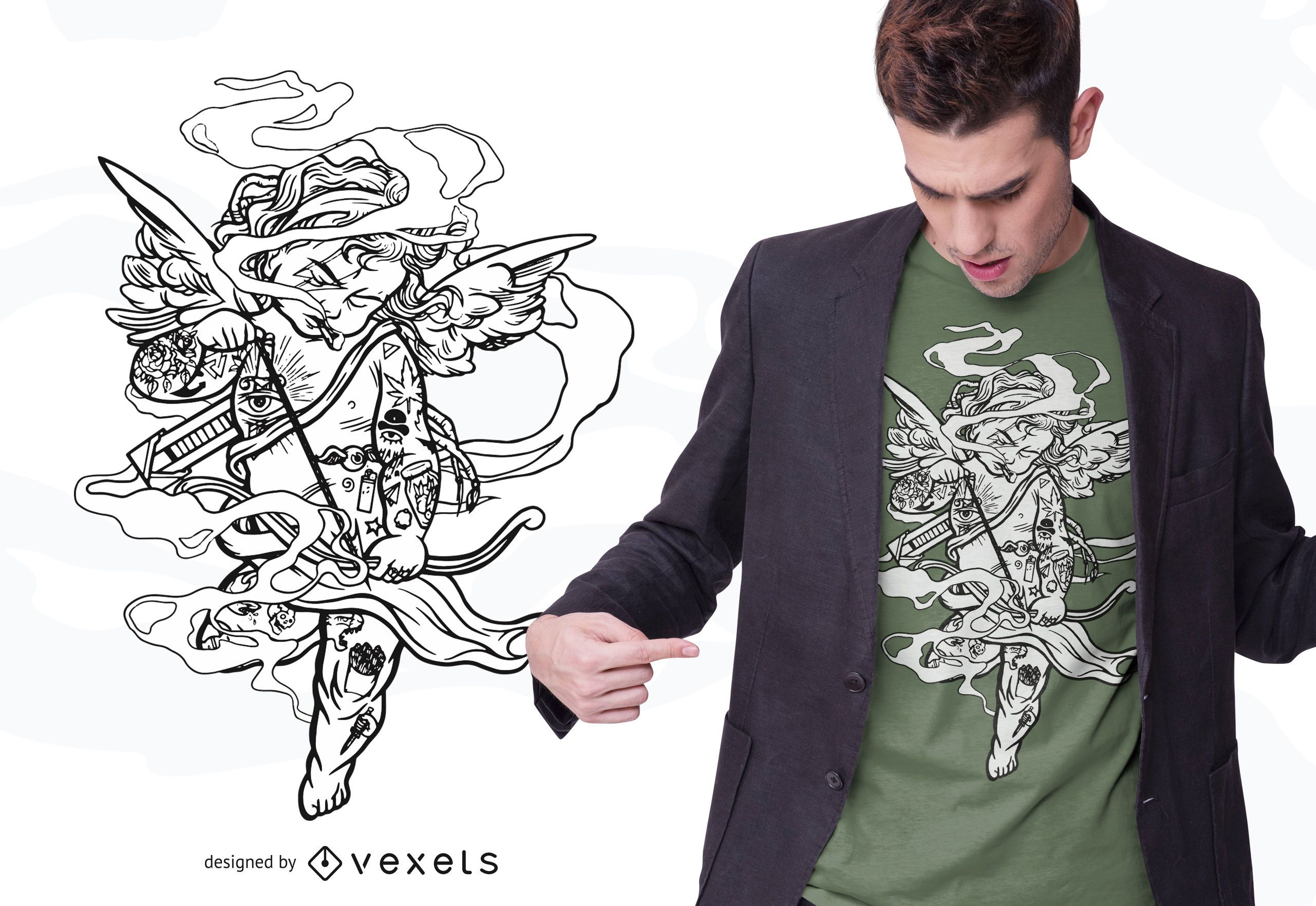 Trashy Cupid T-shirt Design