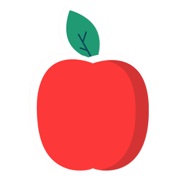 Fruta de manzana plana