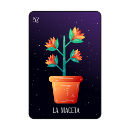 Flower pot loteria card