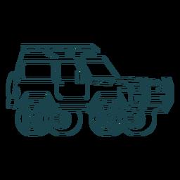 Hand gezeichnete große Räder des Jeeps