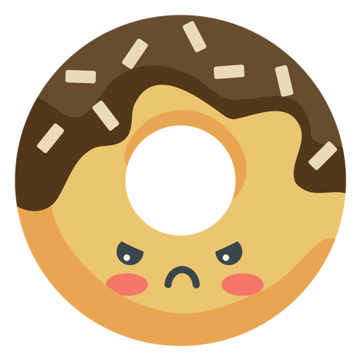 Donut enojado kawaii Transparent PNG