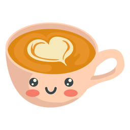 Capuchino sonriente kawaii