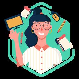 Elementos de caráter de trabalhador de escritório