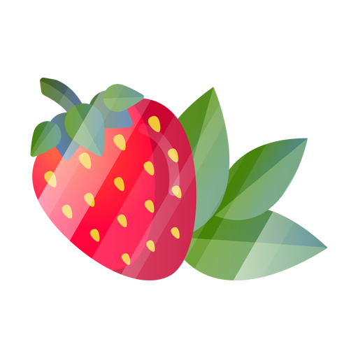 Strawberry with leaves Transparent PNG