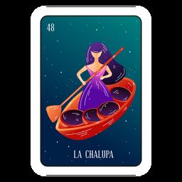 Mujer en tarjeta de loteria de barco
