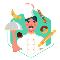 Working chef character elements