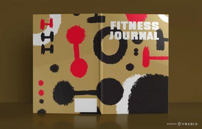 Diseño de portada de libro de diario de fitness abstracto