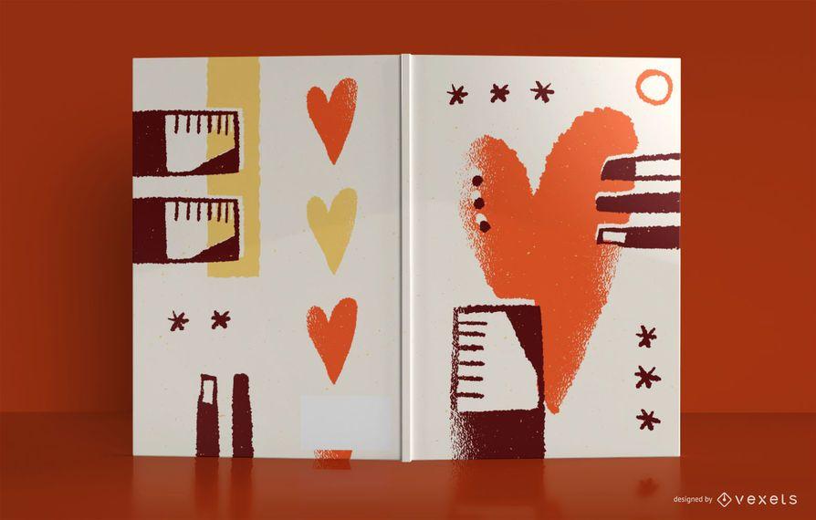 Diseño de portada de libro de diario de amor abstracto