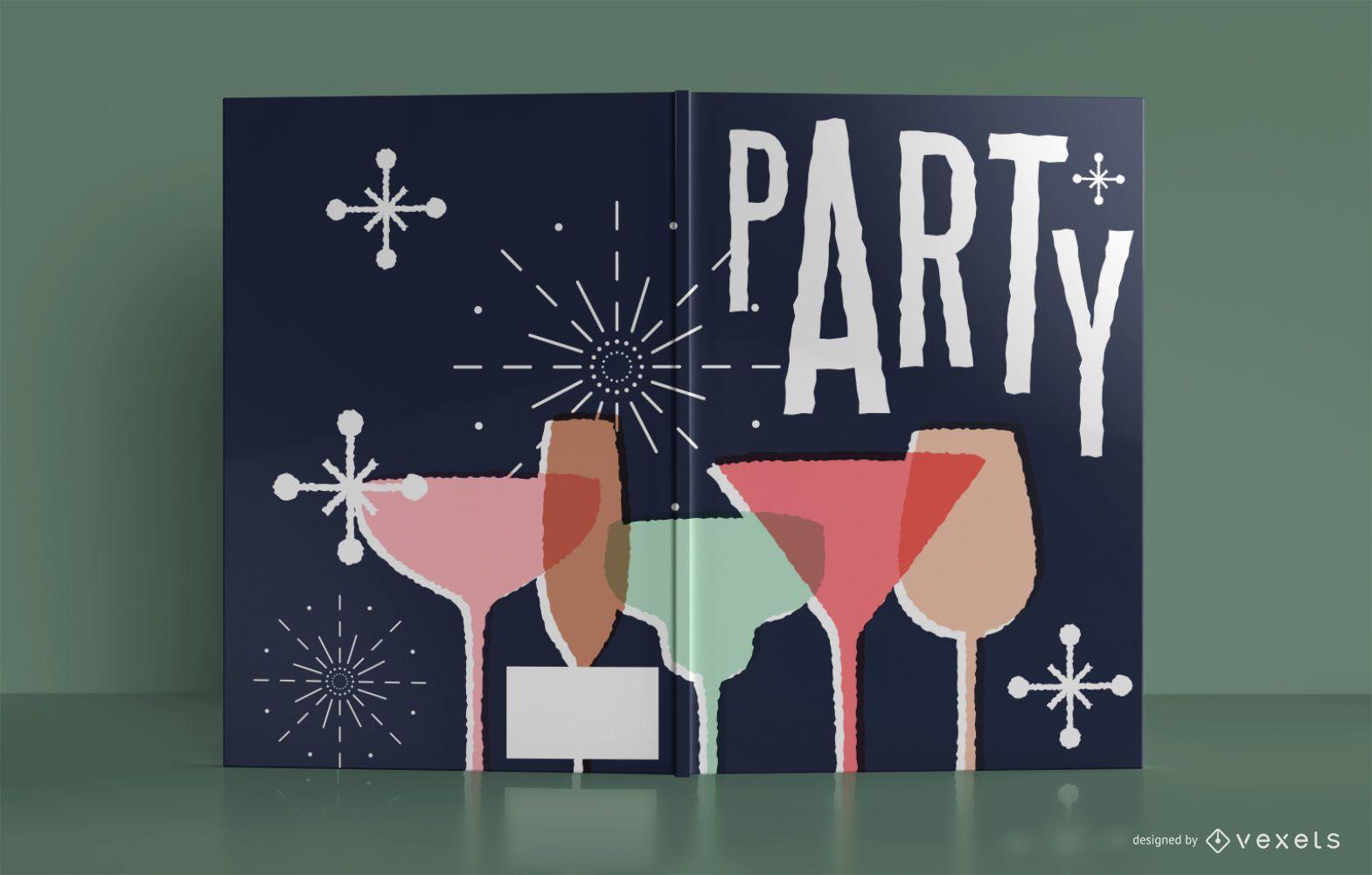 Diseño de portada de libro de cuaderno de fiesta