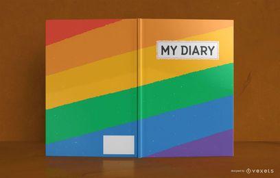 Diseño de portada de libro de diario de arco iris