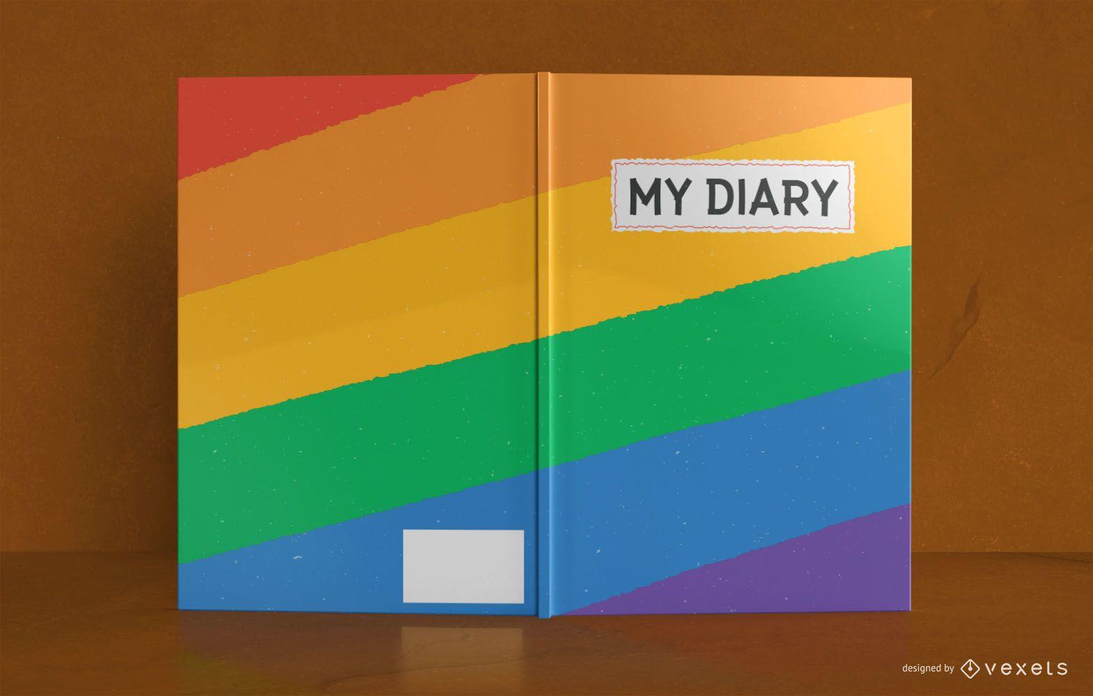 Design da capa do livro do diário do arco-íris