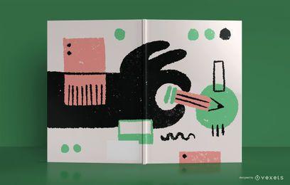 Diseño de portada de libro de bocetos abstractos