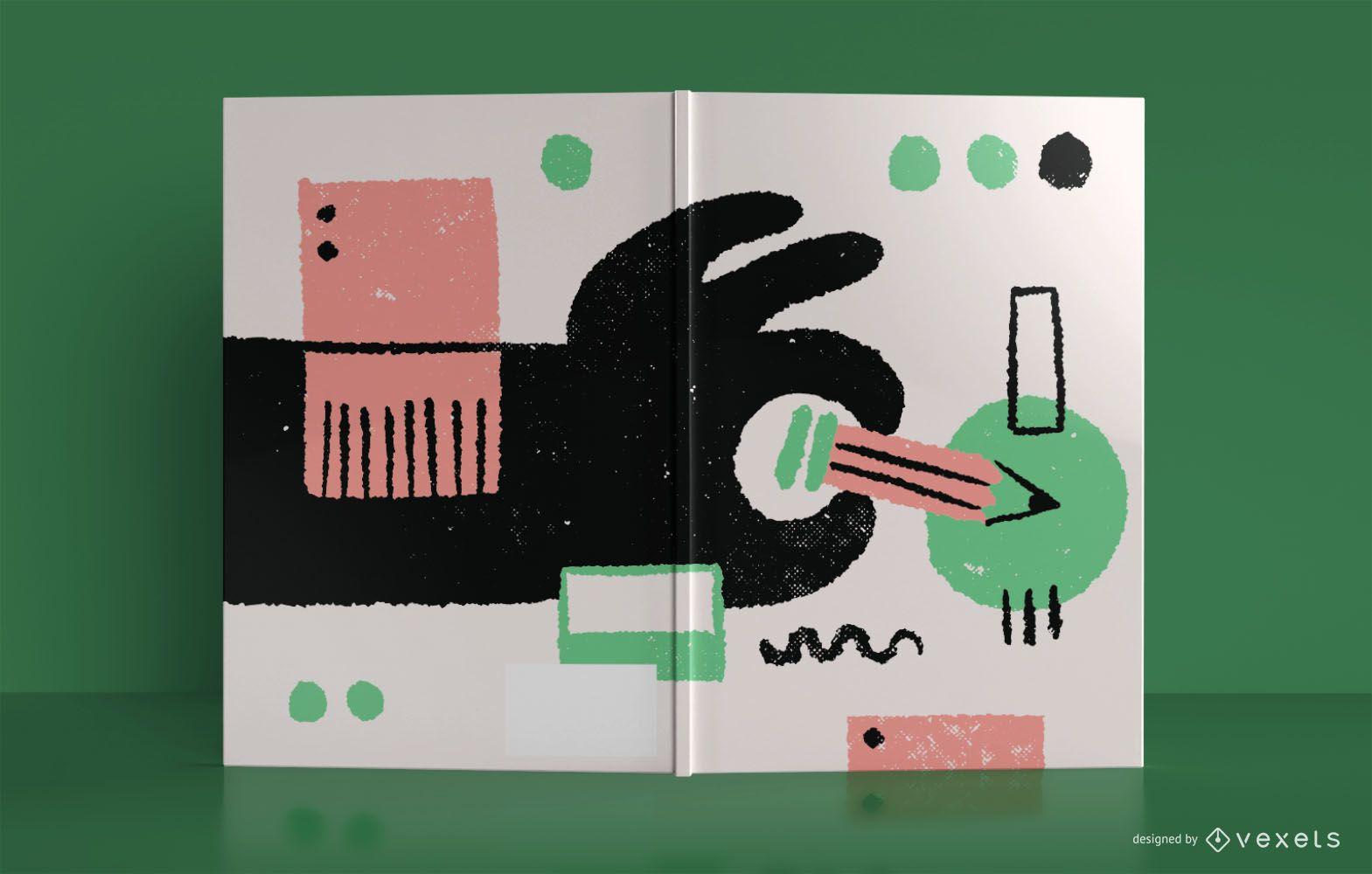 Diseño de portada de libro de cuaderno abstracto