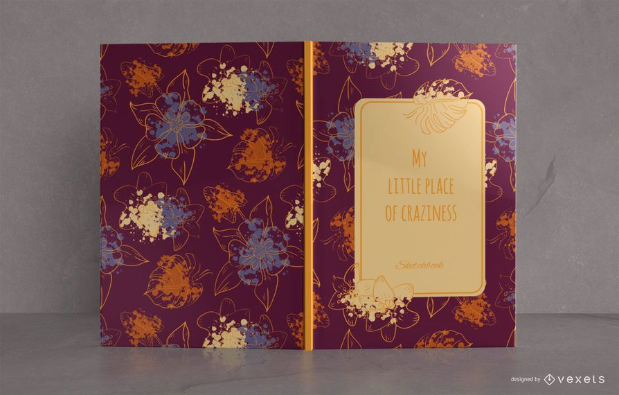 Design de capa de livro floral Sketchbook
