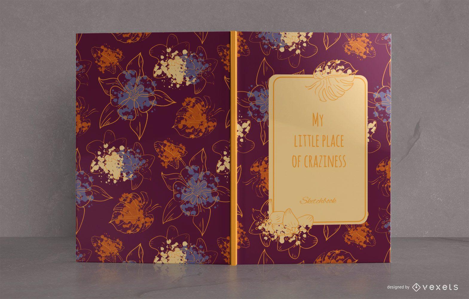 Diseño de portada de libro de cuaderno floral