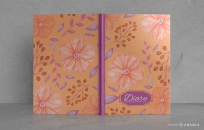 Desenho de capa de livro ilustrado de diário floral