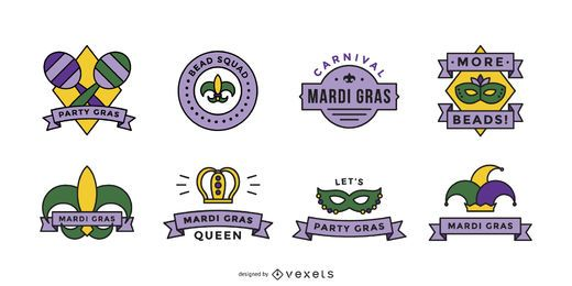 Mardi gras badge set
