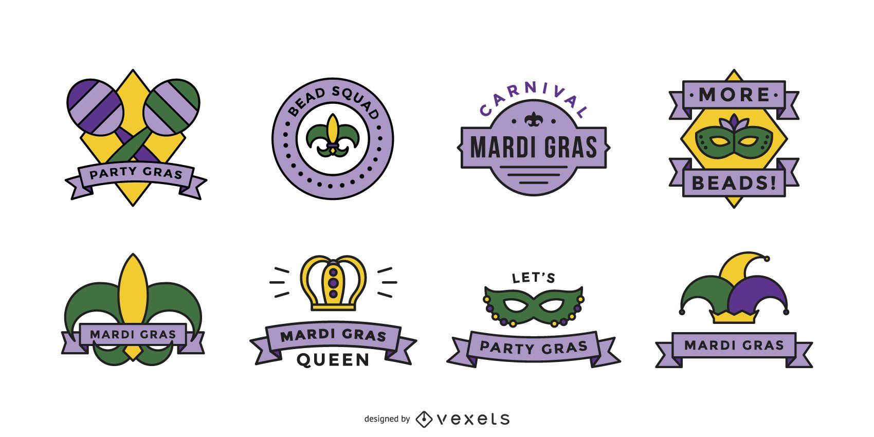 Conjunto de insignias de mardi gras