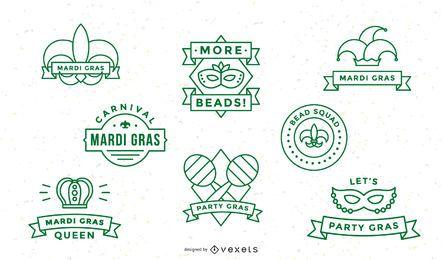 Mardi Gras Schlaganfall Abzeichen gesetzt