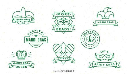 Mardi gras stroke badge set