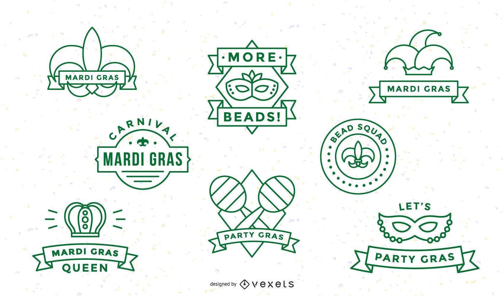 Mardi gras stroke badge set