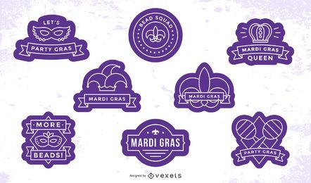 Mardi gras badges set