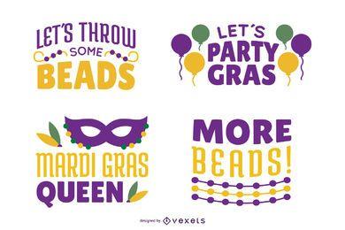 Mardi gras quote lettering set