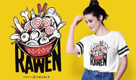 Design engraçado do t-shirt do alimento dos Ramen crus