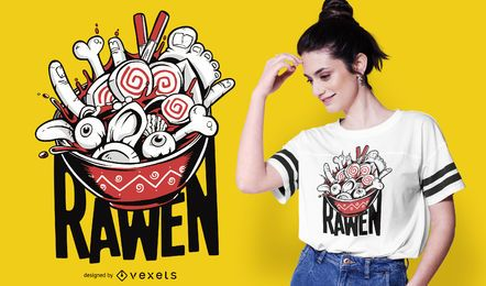 Diseño de camiseta Raw Ramen Funny Food