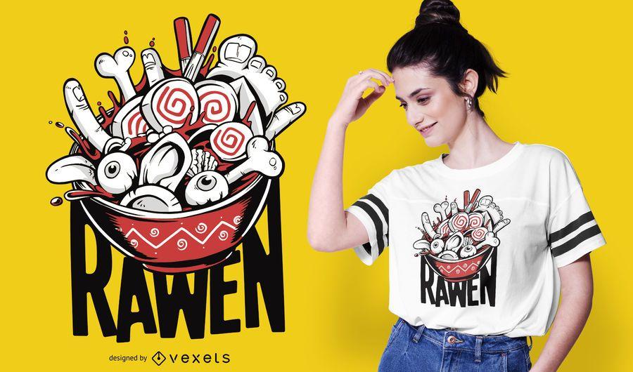Diseño de camiseta Raw Ramen Funny Food