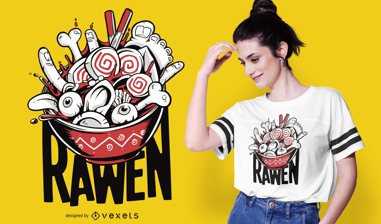 Raw Ramen Funny Food T-shirt Design