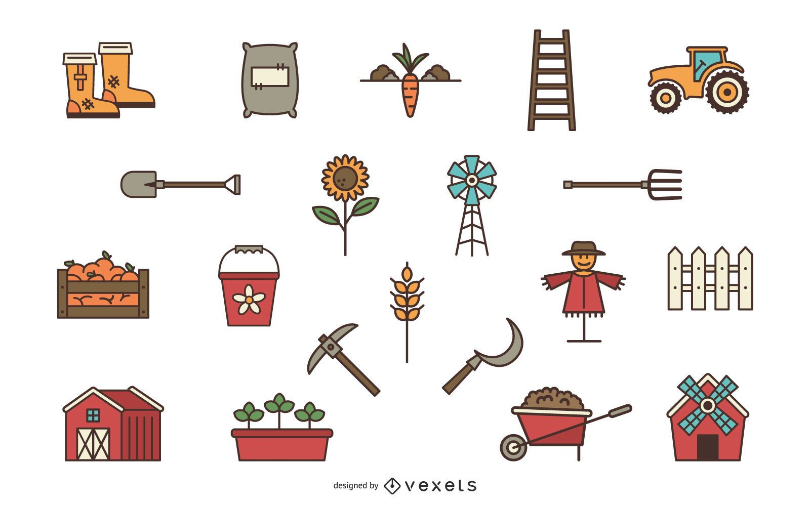 Conjunto de elementos de granja
