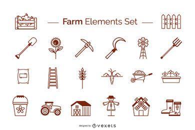 Conjunto de traçado de elementos de fazenda