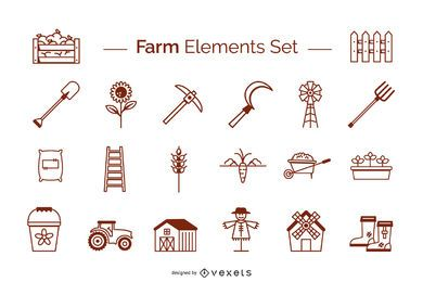 Farm elements stroke set