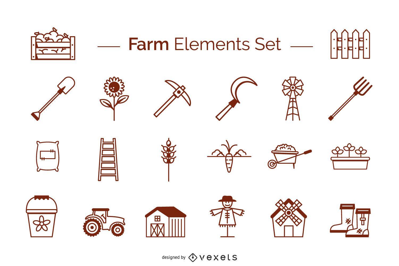 Farm elements stroke set