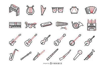 Colección de instrumentos musicales poligonales