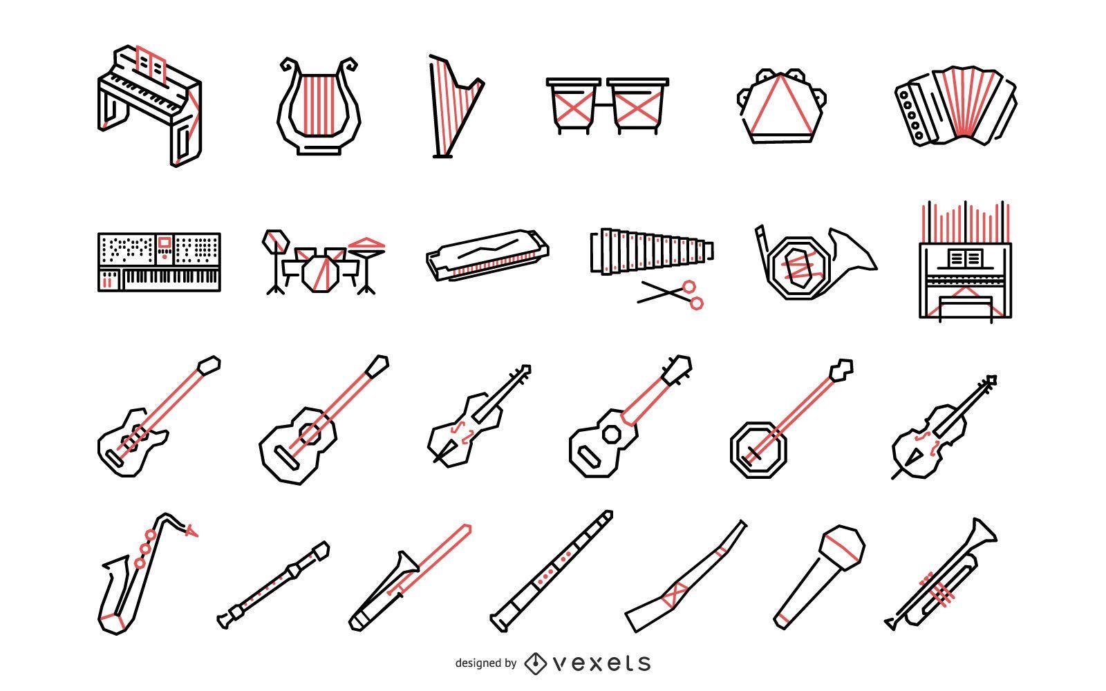 Coleção de instrumentos musicais poligonais